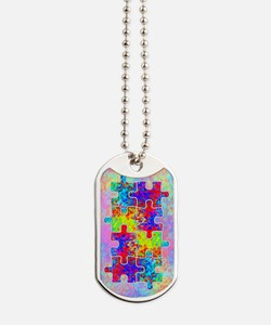 Autism Colorful Puzzle Pieces Dog Tags