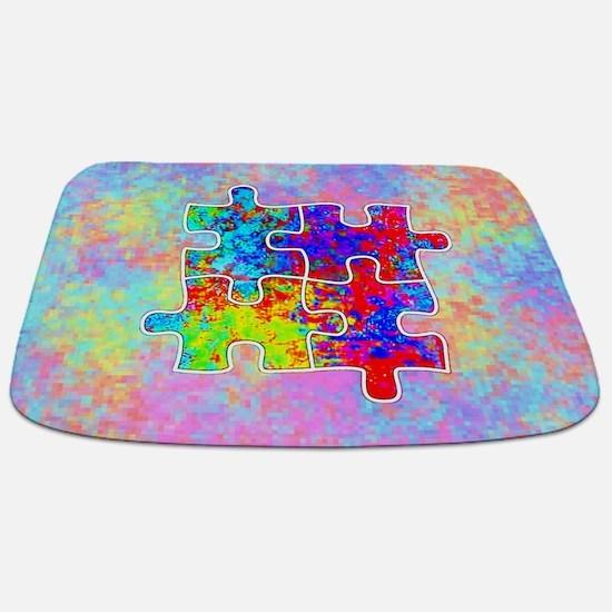 Autism Colorful Puzzle Pieces Bathmat
