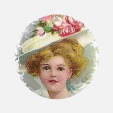 "Edwardian Lady In Rose Hat Portrait 3.5"" Button"