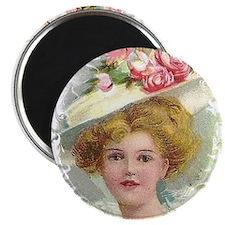 Edwardian Lady In Rose Hat Portrait Magnets