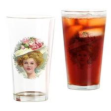 Edwardian Lady In Rose Hat Portrait Drinking Glass