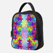 Autism Colorful Puzzle Pieces Neoprene Lunch Bag