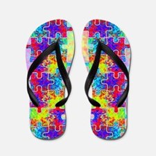 Autism Colorful Puzzle Pieces Flip Flops