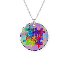 Autism Colorful Puzzle Pieces Necklace