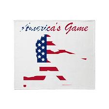 Baseball Batter Americas Game Throw Blanket