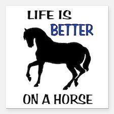 "HORSE LOVE Square Car Magnet 3"" x 3"""