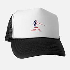 Baseball Batter American Flag Trucker Hat