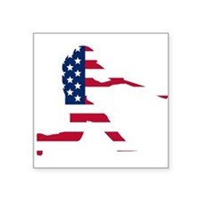 Baseball Batter American Flag Sticker