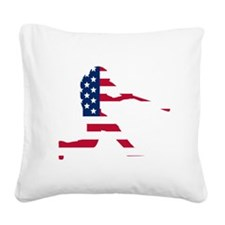 Baseball Batter American Flag Square Canvas Pillow