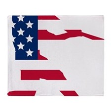 Baseball Batter American Flag Throw Blanket