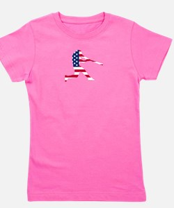 Baseball Batter American Flag Girl's Tee