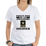 Proud mom of an awesome soldier Womens V-Neck T-shirts
