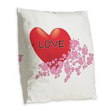 Red Love Heart Burlap Throw Pillow