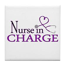 Nurse in Charge - Purple Tile Coaster