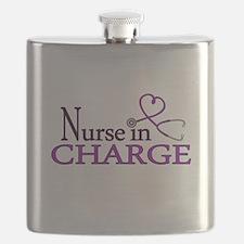 Nurse in Charge - Purple Flask