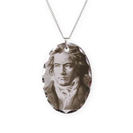 Beethoven In Sepia Necklace Oval Charm