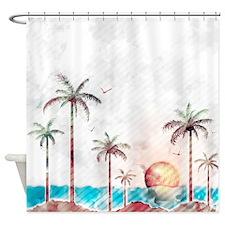 Grunge Beach Shower Curtain