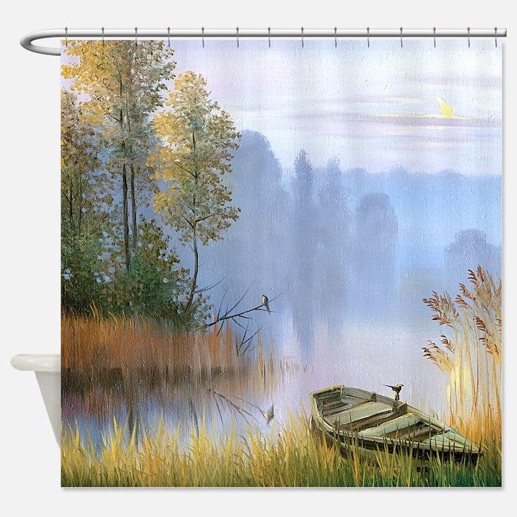 Fishing Boat Shower Curtains Fishing Boat Fabric Shower