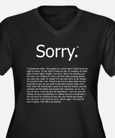Sorry* Women's Plus Size V-Neck Dark T-Shirt