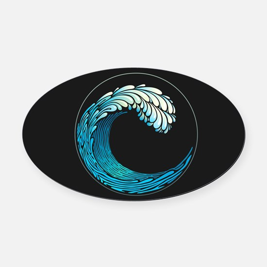 Ocean Wave Oval Car Magnet