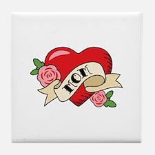 Mom Heart Tile Coaster