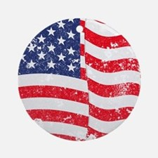 American Flag Waving distressed Ornament (Round)