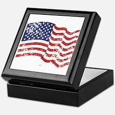American Flag Waving distressed Keepsake Box