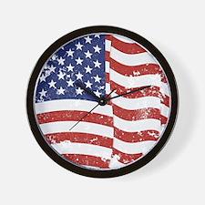 American Flag Waving distressed Wall Clock