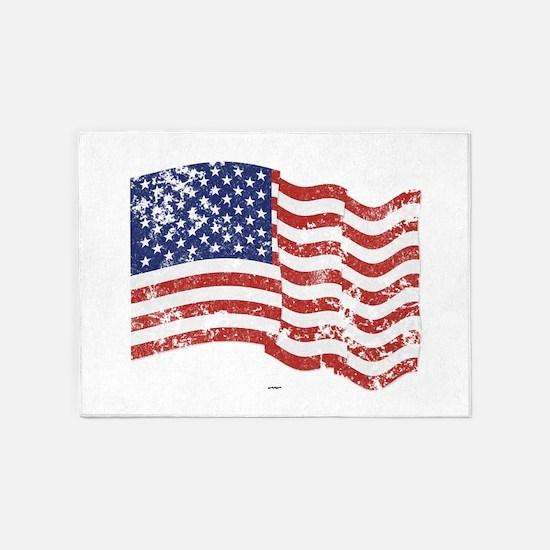 American Flag Waving distressed 5'x7'Area Rug