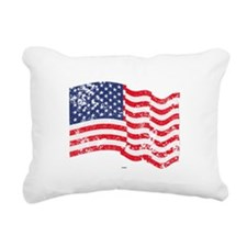 American Flag Waving dis Rectangular Canvas Pillow