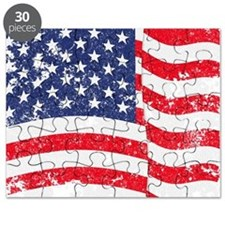 American Flag Waving distressed Puzzle