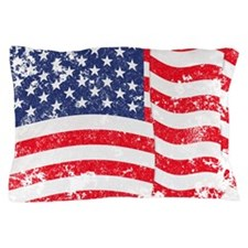 American Flag Waving distressed Pillow Case