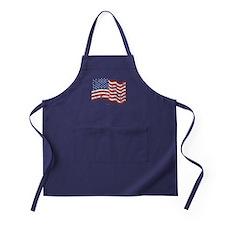American Flag Waving distressed Apron (dark)