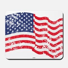 American Flag Waving distressed Mousepad