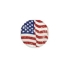 American Flag Waving distressed Mini Button