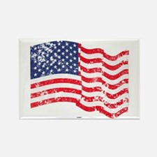 American Flag Waving distressed Rectangle Magnet