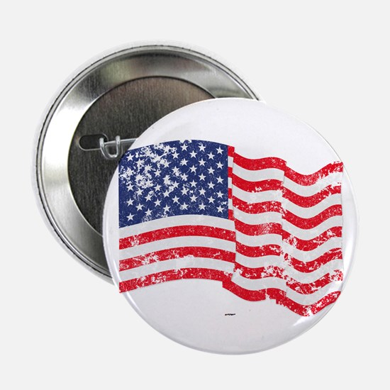 "American Flag Waving Distre 2.25"" Button (10"