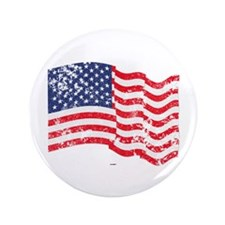 "American Flag Waving distre 3.5"" Button (100 pack)"