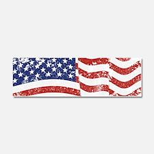 American Flag Waving distressed Car Magnet 10 x 3