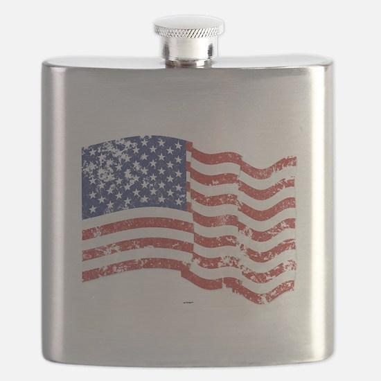 American Flag Waving distressed Flask