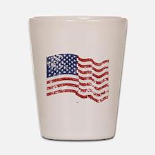 American Flag Waving distressed Shot Glass
