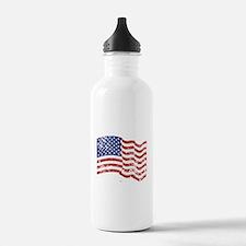American Flag Waving d Water Bottle
