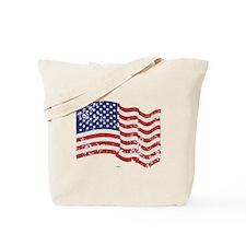 American Flag Waving distressed Tote Bag