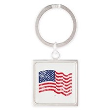 American Flag Waving distressed Square Keychain