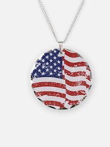 American Flag Waving distres Necklace