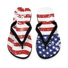 American Flag Waving distressed Flip Flops