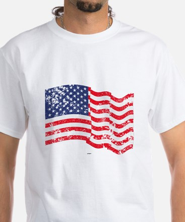 American Flag Waving distressed White T-Shirt
