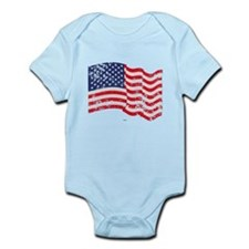 American Flag Waving distressed Infant Bodysuit