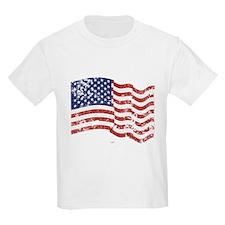 American Flag Waving distressed T-Shirt