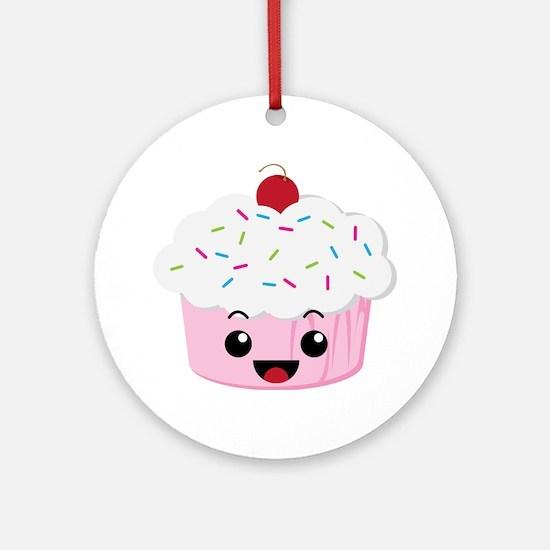 Kawaii Cupcake Round Ornament